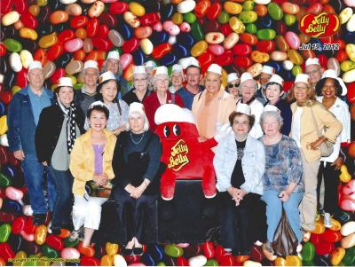 A large group of retirees at the Jelly Belly factory