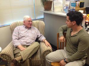 Professor Ed Epstein mentoring student Amador Hurtado